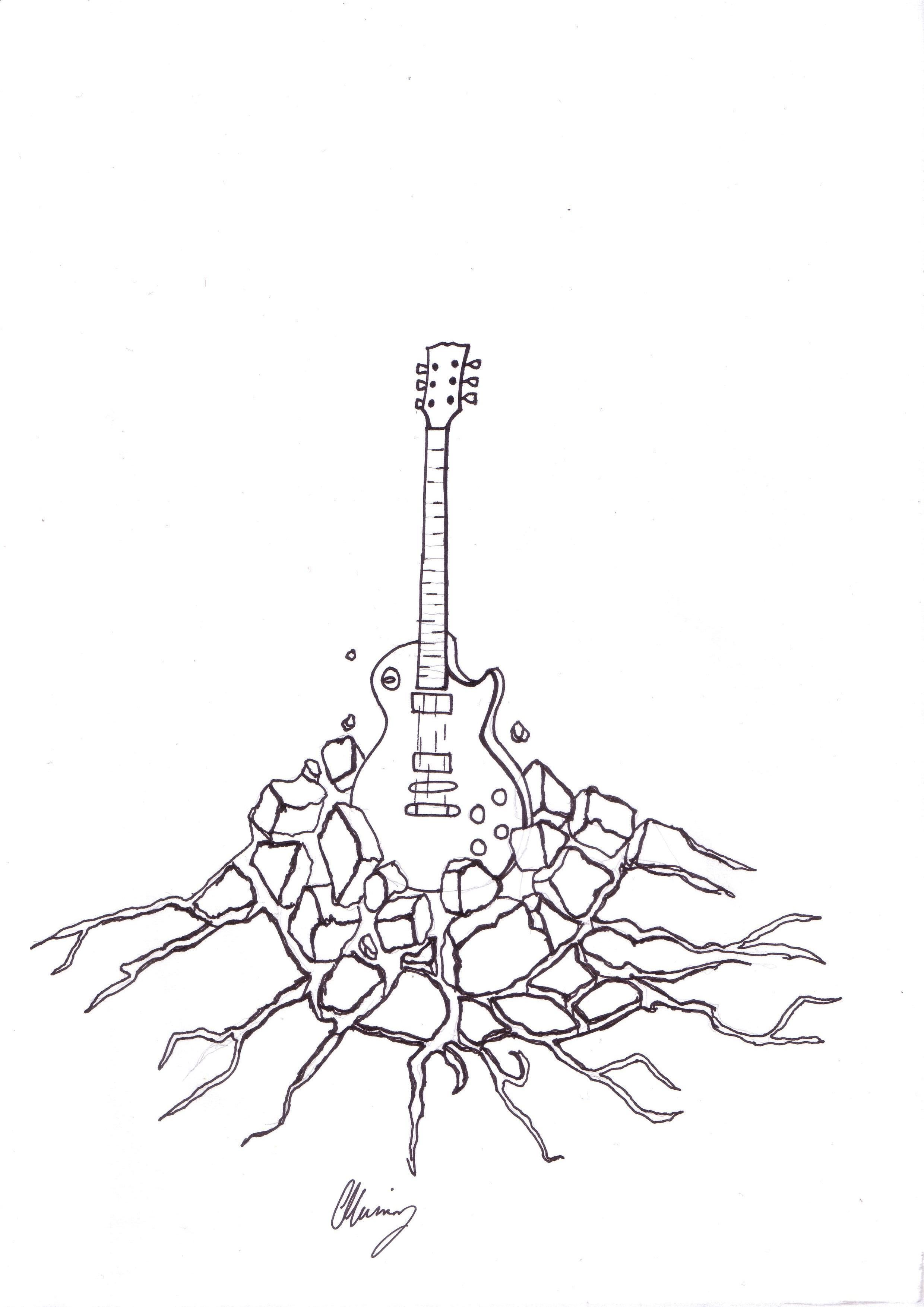 My guitar and exploding rock design (to which I also have tattooed ...