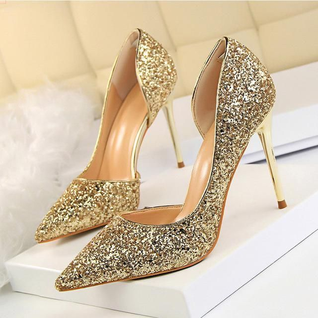 Women Pumps Bling Sexy High Heels Glitter Wedding Party Women Heels Shoes  Female Gold Silver Bridal Shoes Stiletto 9.5CM aa3eb8b8a