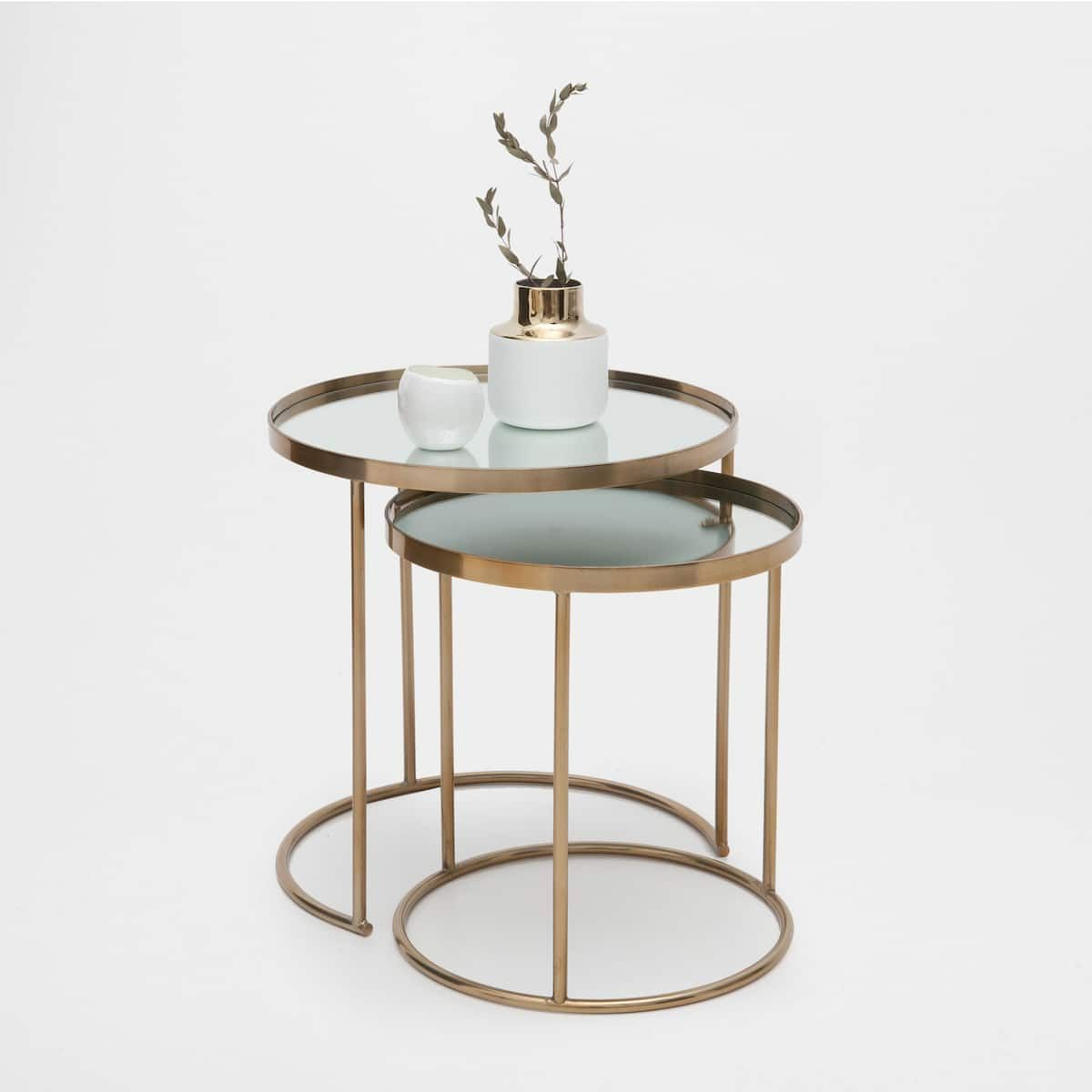 Round Gold Nest Of Tables Set Of 2 In 2019 Zara Home Table