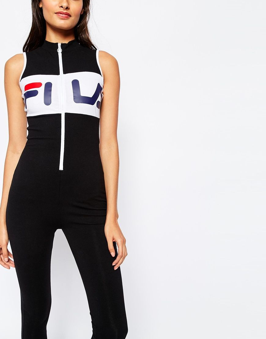 6ffc1f3d693 Image 3 of Fila High Neck Unitard Legging Jumpsuit With Front Zip Detail