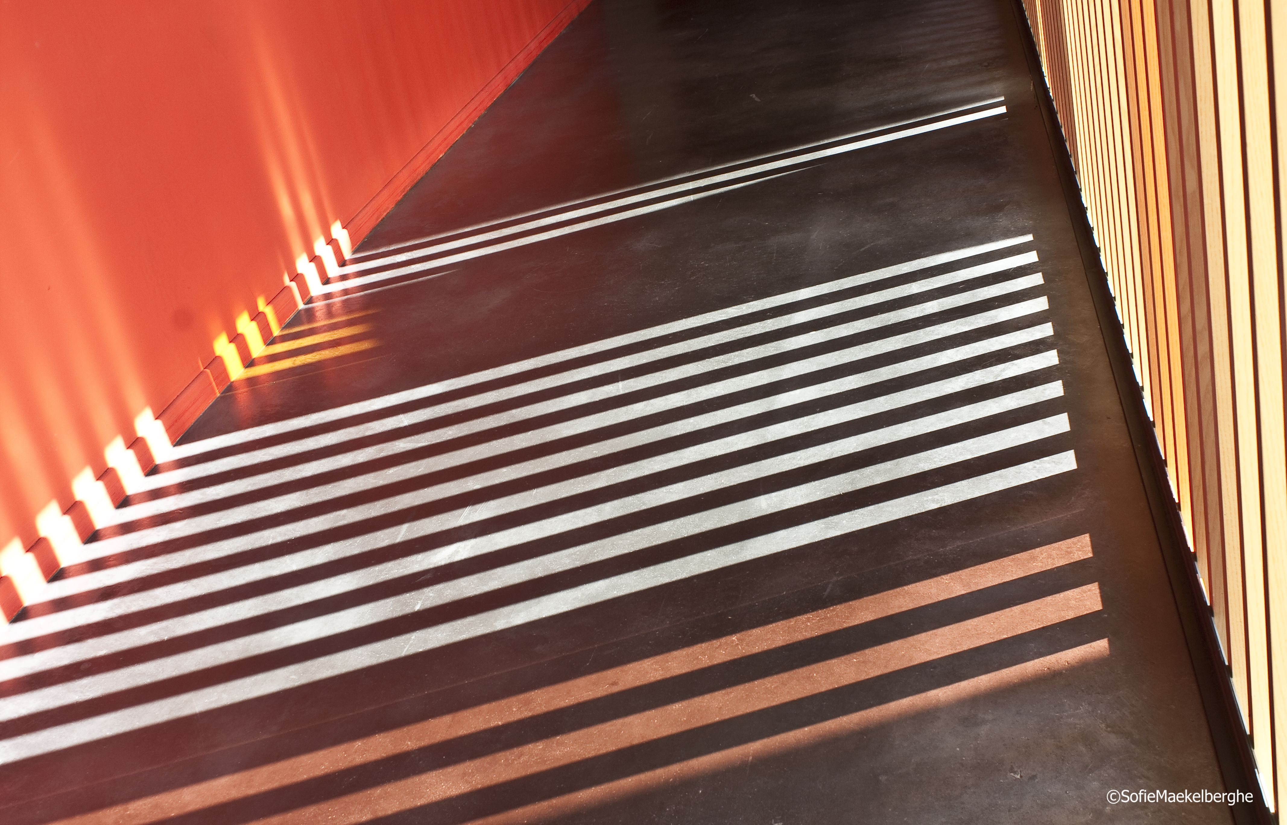 Light, shadow and colour in a public building, an Academy for Music, Word and Dance, Ninove, Belgium.