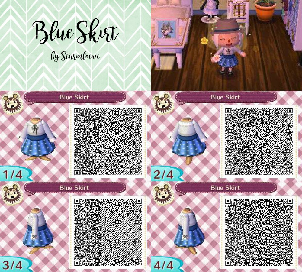 Animal Crossing New Leaf Qr Code Cute Modern Blue White Grey Dotted