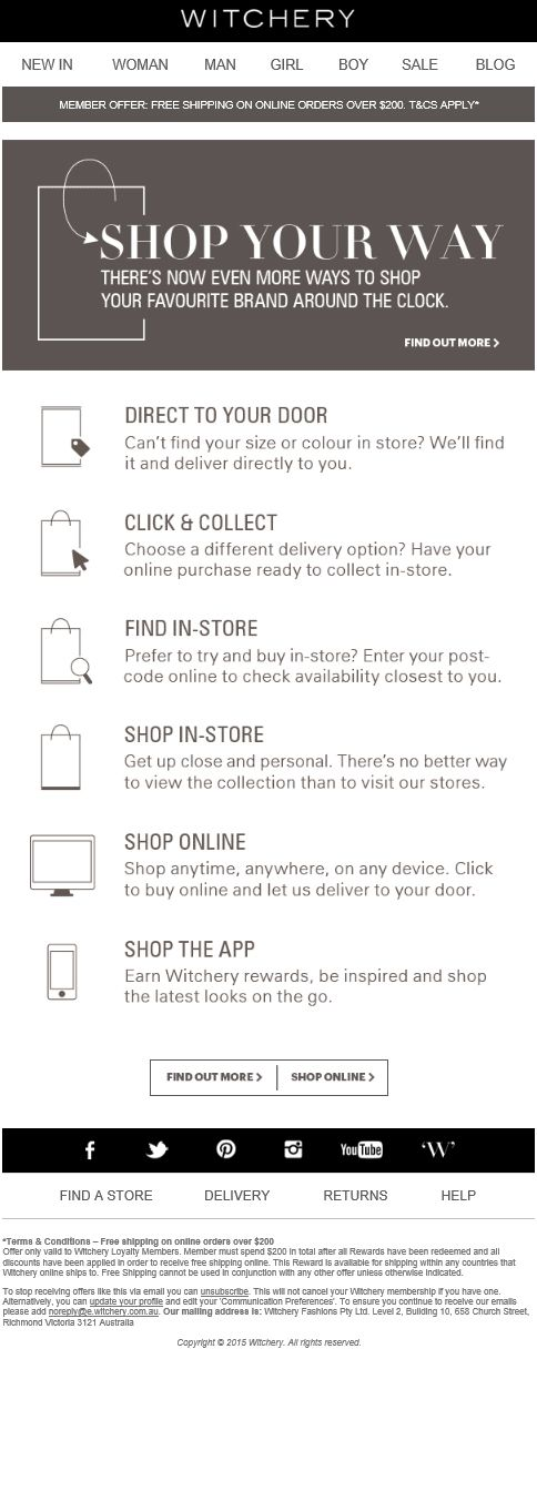Witchery Email Design - Shope your way Sale, Welcome  Delivery - feedback survey template