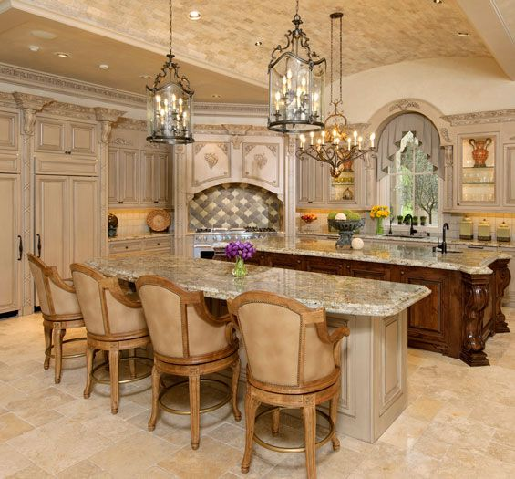 Lovely Double Island Tuscan Kitchen