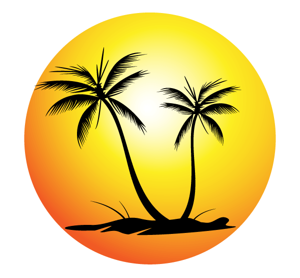 Free Tropical Beach with Palm Trees Vector Image | Free ...
