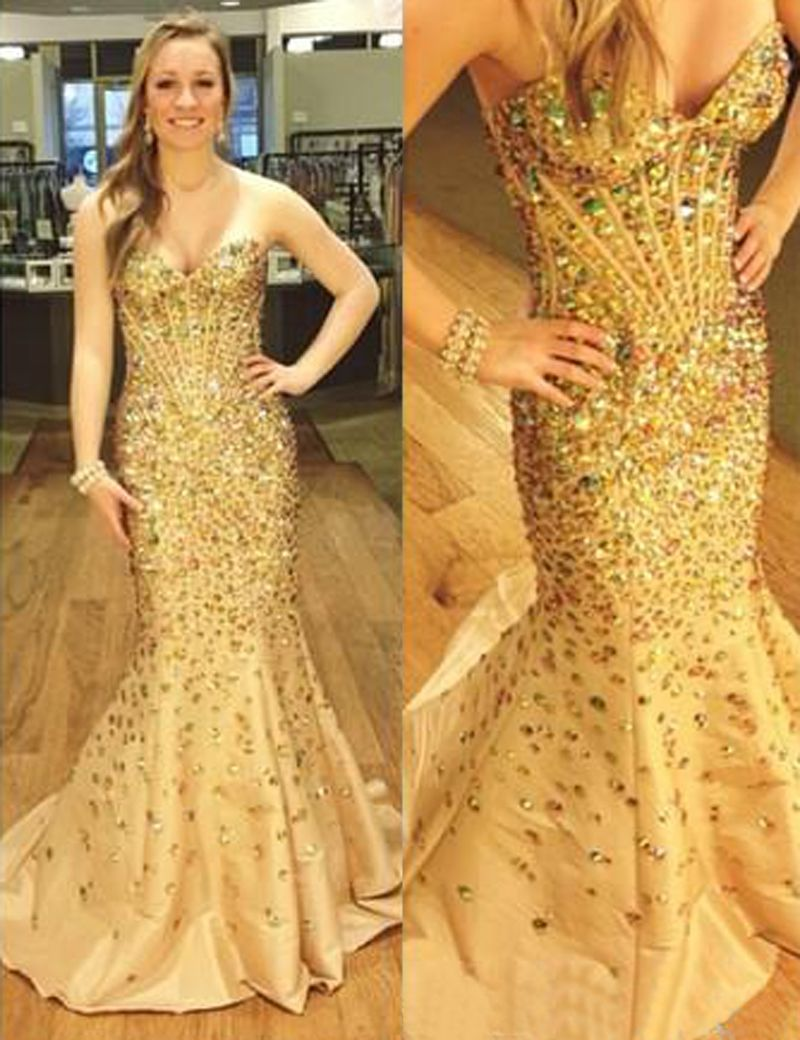 Gold sheath prom dresssweetheart sweep train evening dressbeading