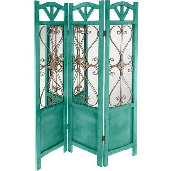 Distressed Turquoise Mirrored Wood Room Divider Wood Room Divider Turquoise Room Decor