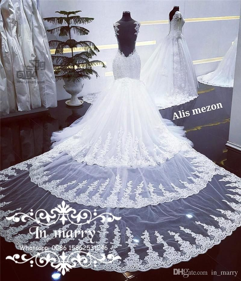 Detachable Cathedral Train Wedding Gown: 2017 Full Lace Mermaid Wedding Dresses Detachable