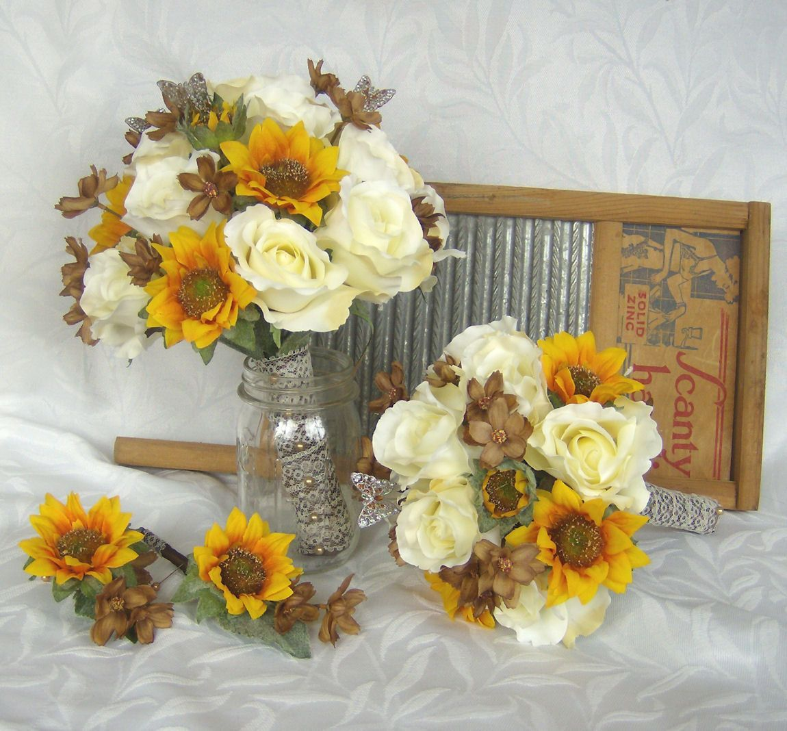 Bridesmaid Bouquets Sunflowers : Sunflower bridal bouquet roses wedding