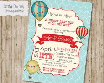 Hot air balloon baby shower invitation girl vintage hot air