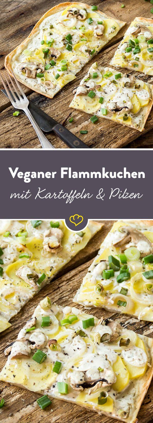 Veganer Flammkuchen mit Kartoffeln und Pilzen
