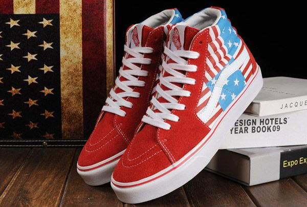 eb1b5c9803fa Limited Edition Vans American Flag Seamed Stars Stripes Old Skool Off the  Wall Sk8 High Sky Blue Red Suede Authentic Skateboard Sneakers  Vans