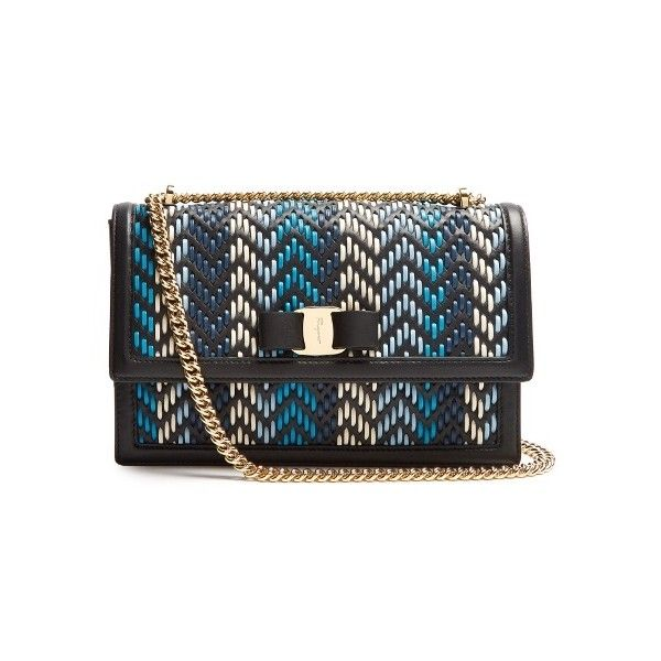 Salvatore Ferragamo Ginny woven-leather shoulder bag ($1,329) ❤ liked on Polyvore featuring bags, handbags, shoulder bags, black blue, chain-strap handbags, chain shoulder bag, blue shoulder bag, blue purse and chain strap purse