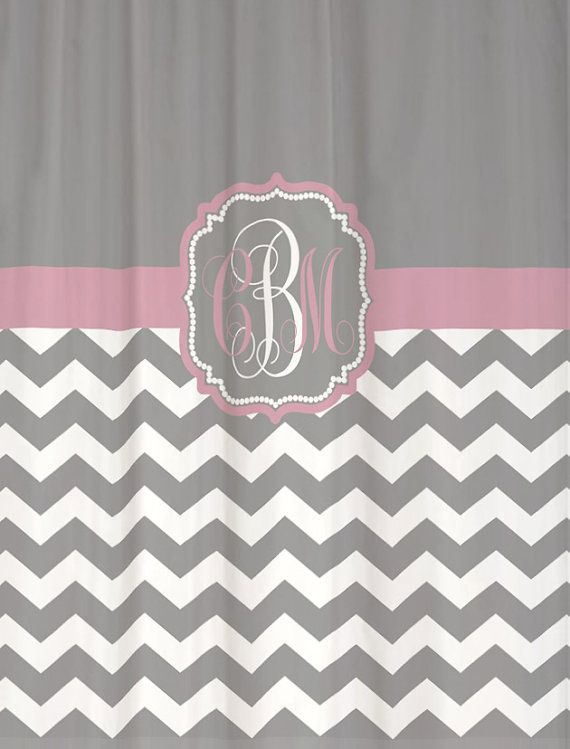 Shower Curtain  Solid Grey and Chevron with by SwirledPeasDesigns, $69.00