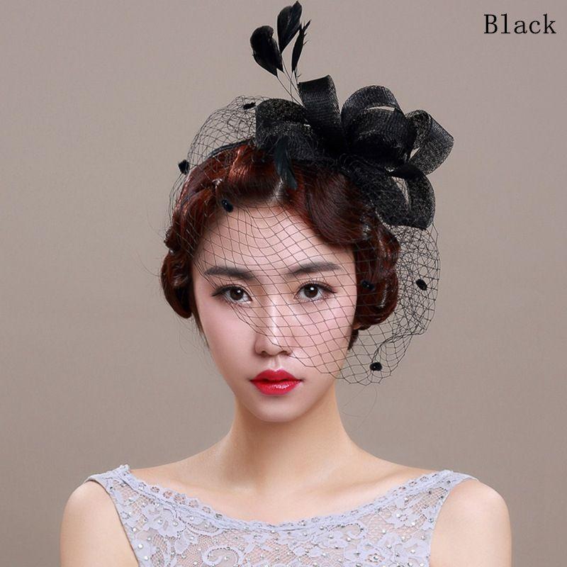 Wedding Hats For Women Vintage Net Bridal Hats Black Wedding Accessorie  Brides Fascinator Wedding Birdcage Veil 319b26aa7dc