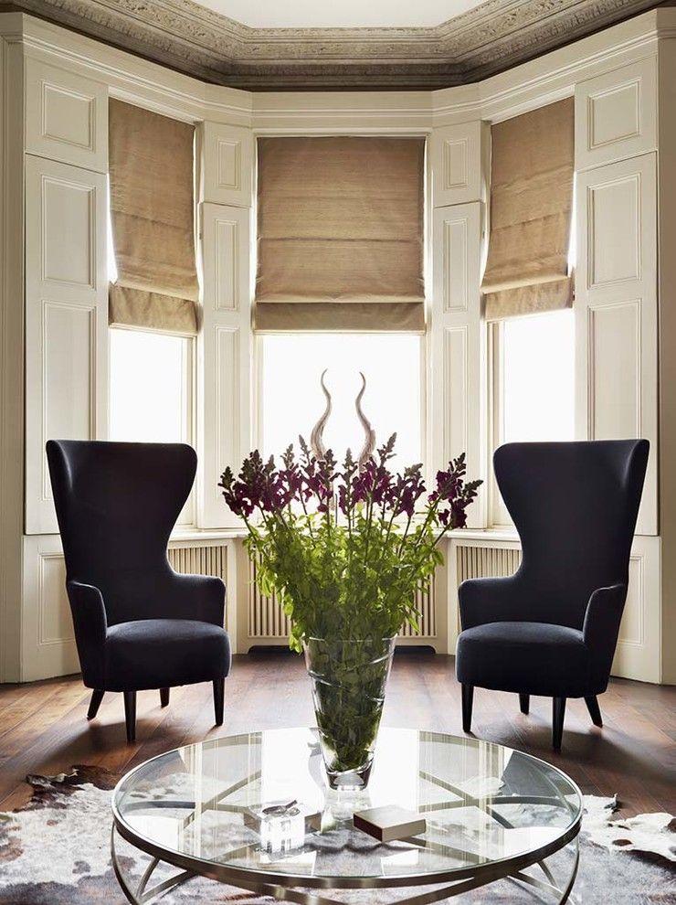 Fair Roman Shades Bay Window Decor Ideas in Living Room ...