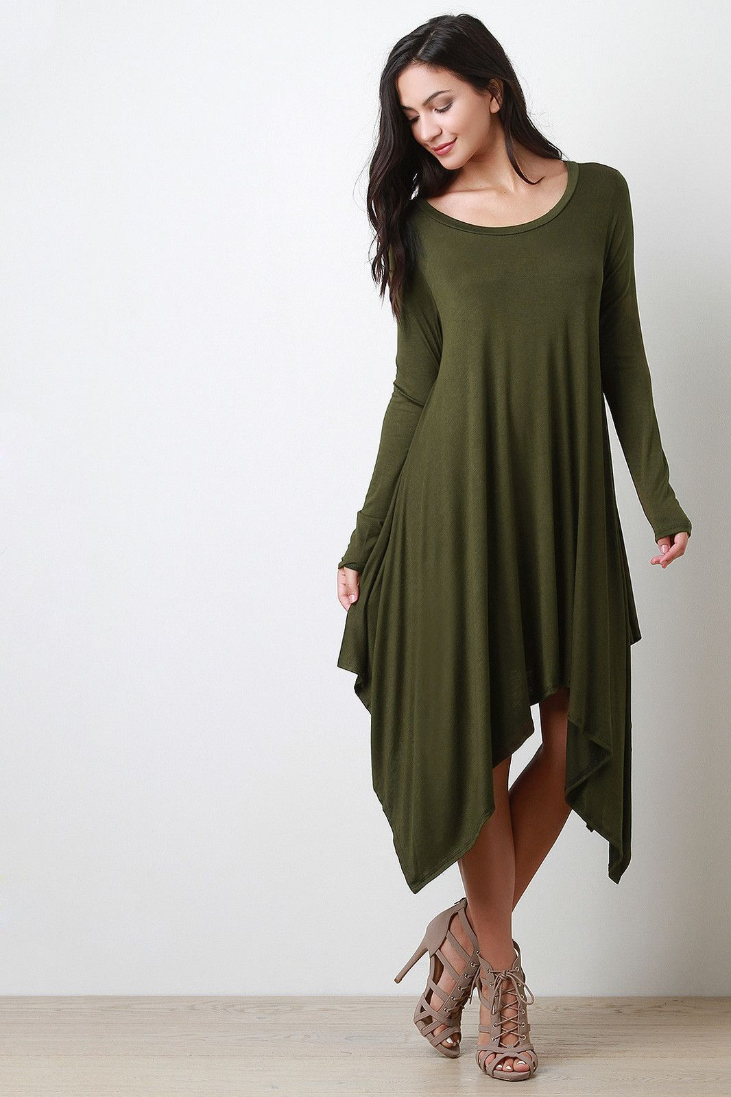 Round neck long sleeves handkerchief maxi dress products