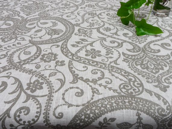 Linen Tablecloth 54 X 72. Natural Linen Table Cloth. Damask Tablecloth.  Modern Tablecloth White Beige