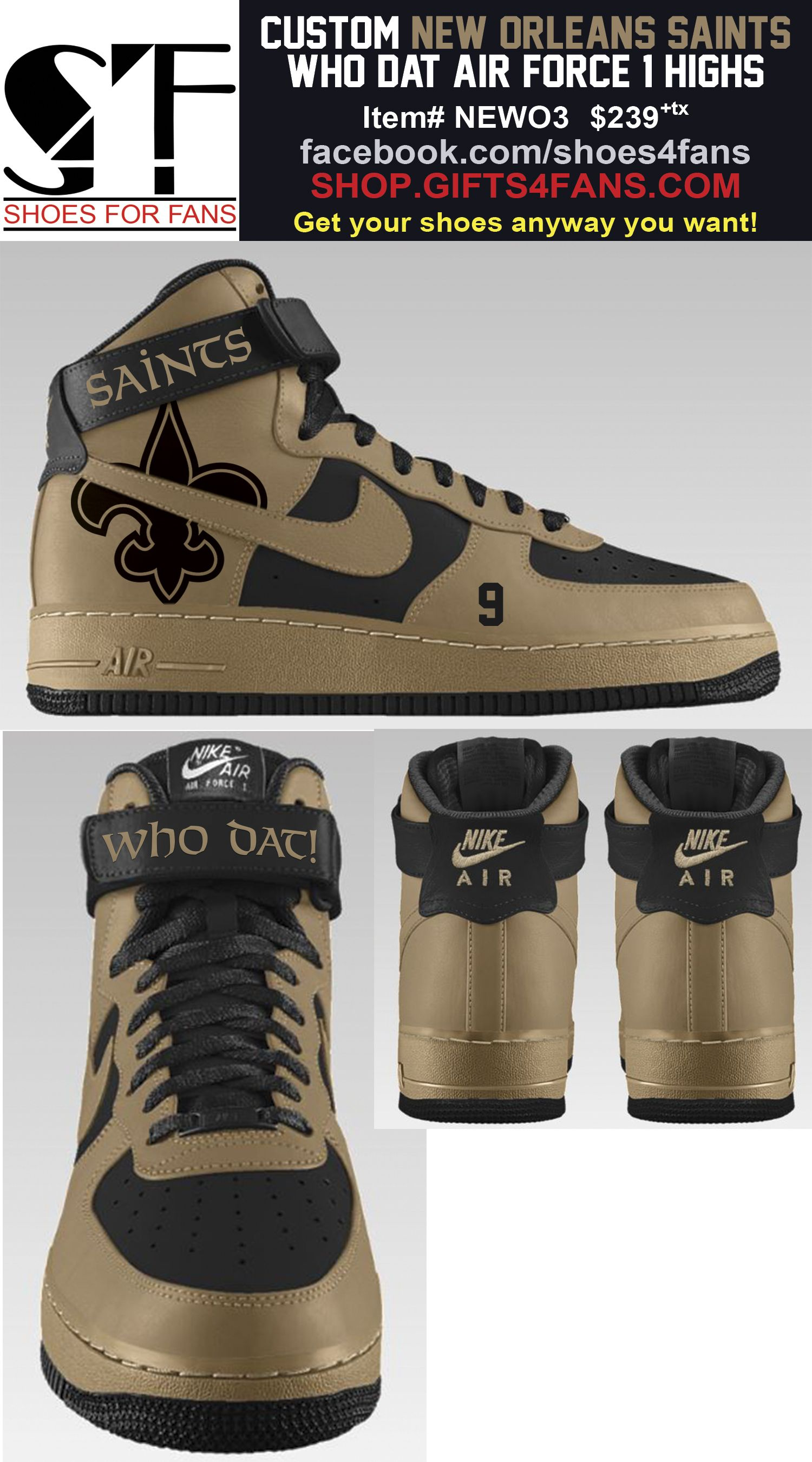 Pin by Shoes4Fans on New Orleans Saints Shoes  afb9375f3