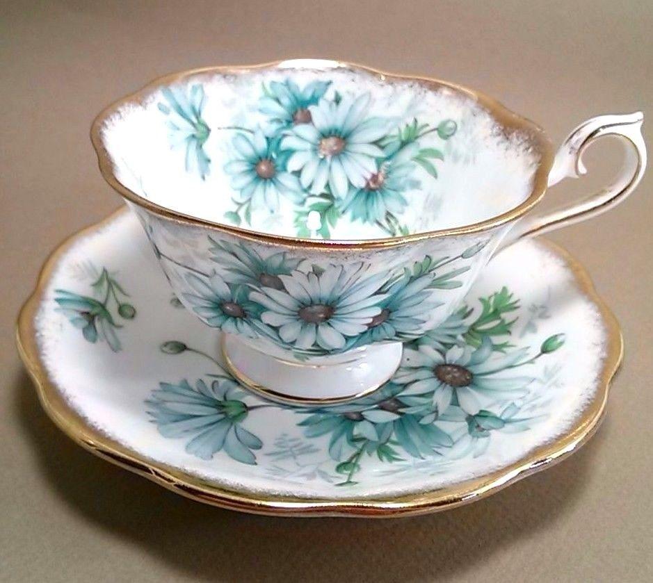 Royal albert bone china tea cup amp saucer winsome pattern ebay - Vintage Royal Albert Bone China Cup Saucer Marguerite Blue Daisy Brushed Gold Royalalbert