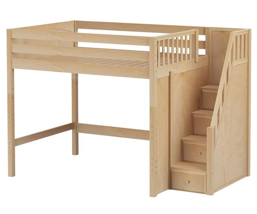 Enormous full size high loft bed with stairs natural by for Bunk beds for kids with stairs