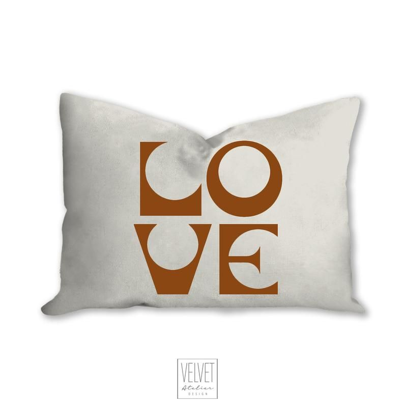 Love pillow, cinnamon color, mid century letters, groovy, Boho pillow, retro pillow, throw pillow, pillow cover and insert, accent pillow