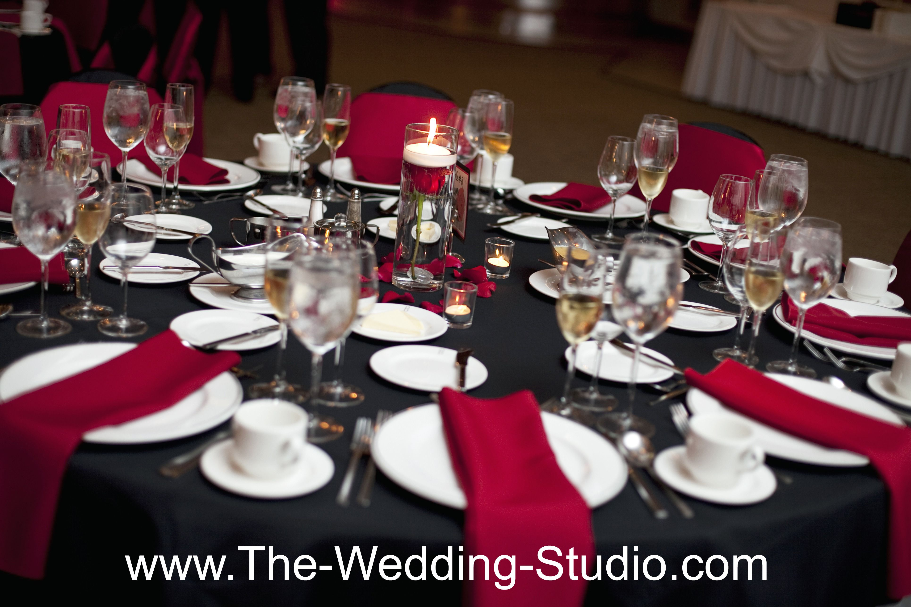Black Table Cloth Red Napkins A Dash Of Red Rose Petals Small