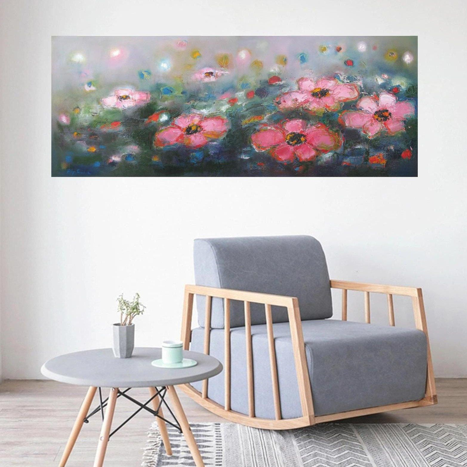Long Narrow Horizontal Wall Art Prints Floral Abstract Summer Etsy Horizontal Painting Horizontal Wall Art Landscape Wall Art