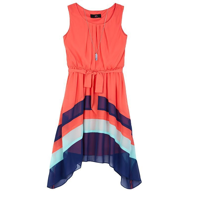 Girls 7-16 IZ Amy Byer Colorblock Sharkbite Dress with Necklace, Girl's, Size: 14, Lt Orange