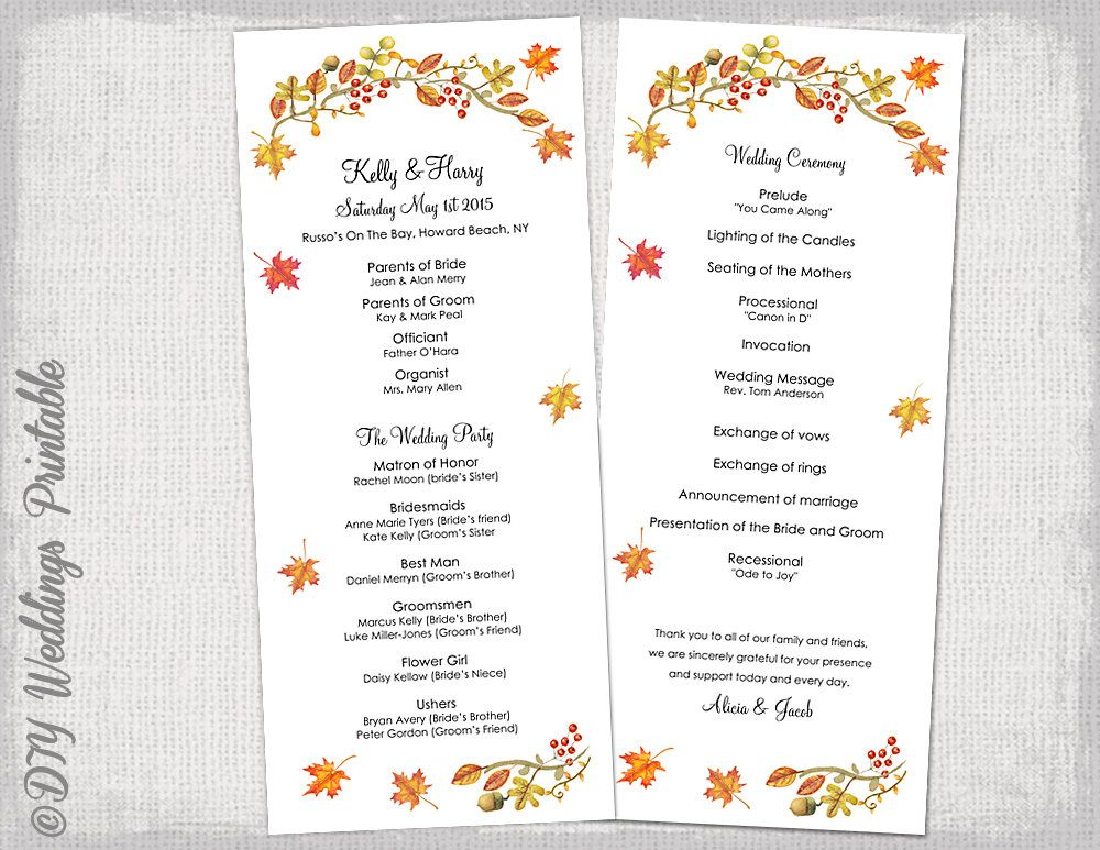 order of service wedding template civil ceremony google search