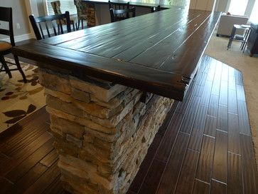 Inexpensive Bar Top For The Man Cave Contemporary Family Rooms Finishing Basement Rustic Dining Table