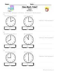 How Much Time Passed Worksheet - To The Hour