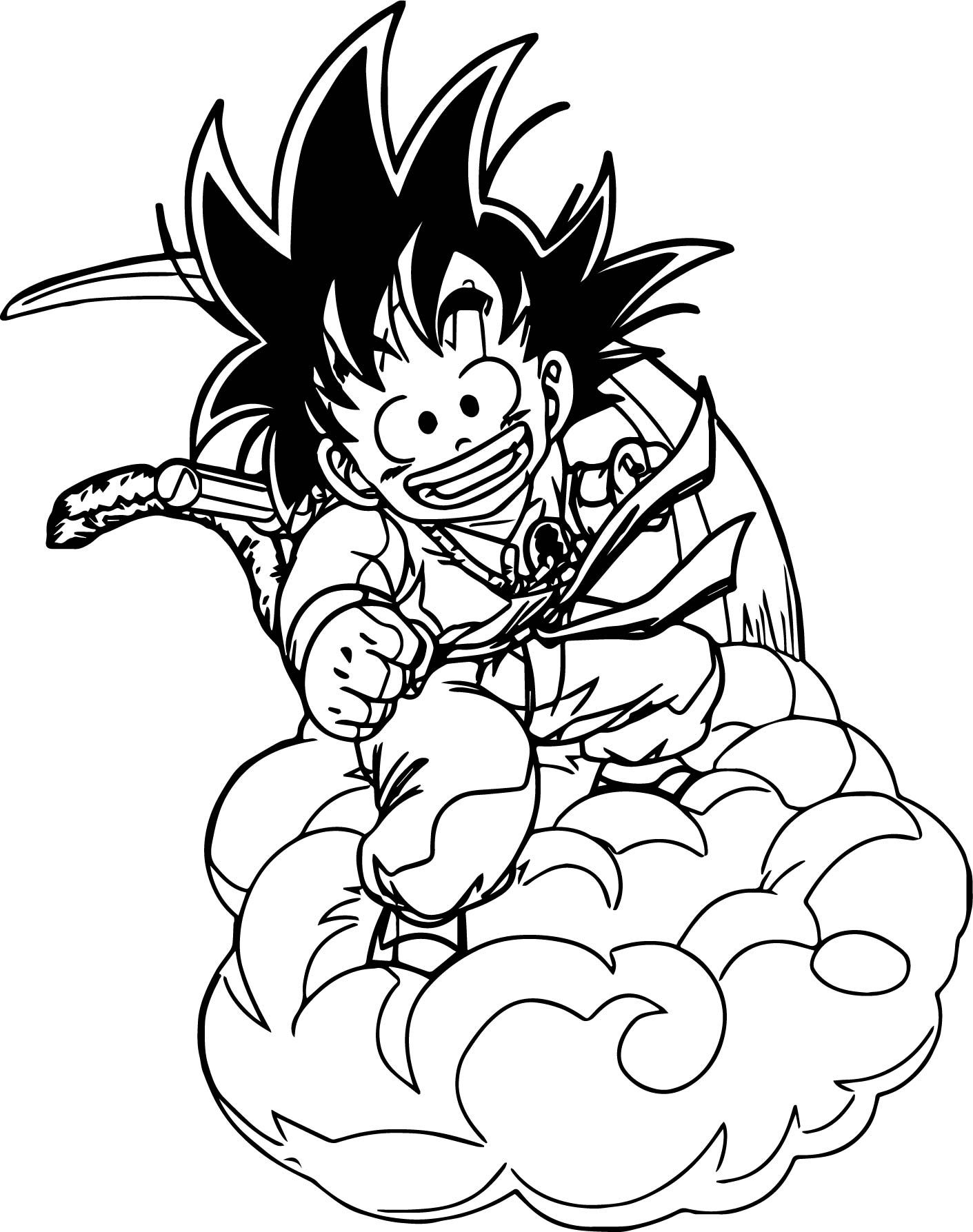 Nice Goku On Cloud Coloring Page Cartoon Coloring Pages Coloring Pages Goku Drawing