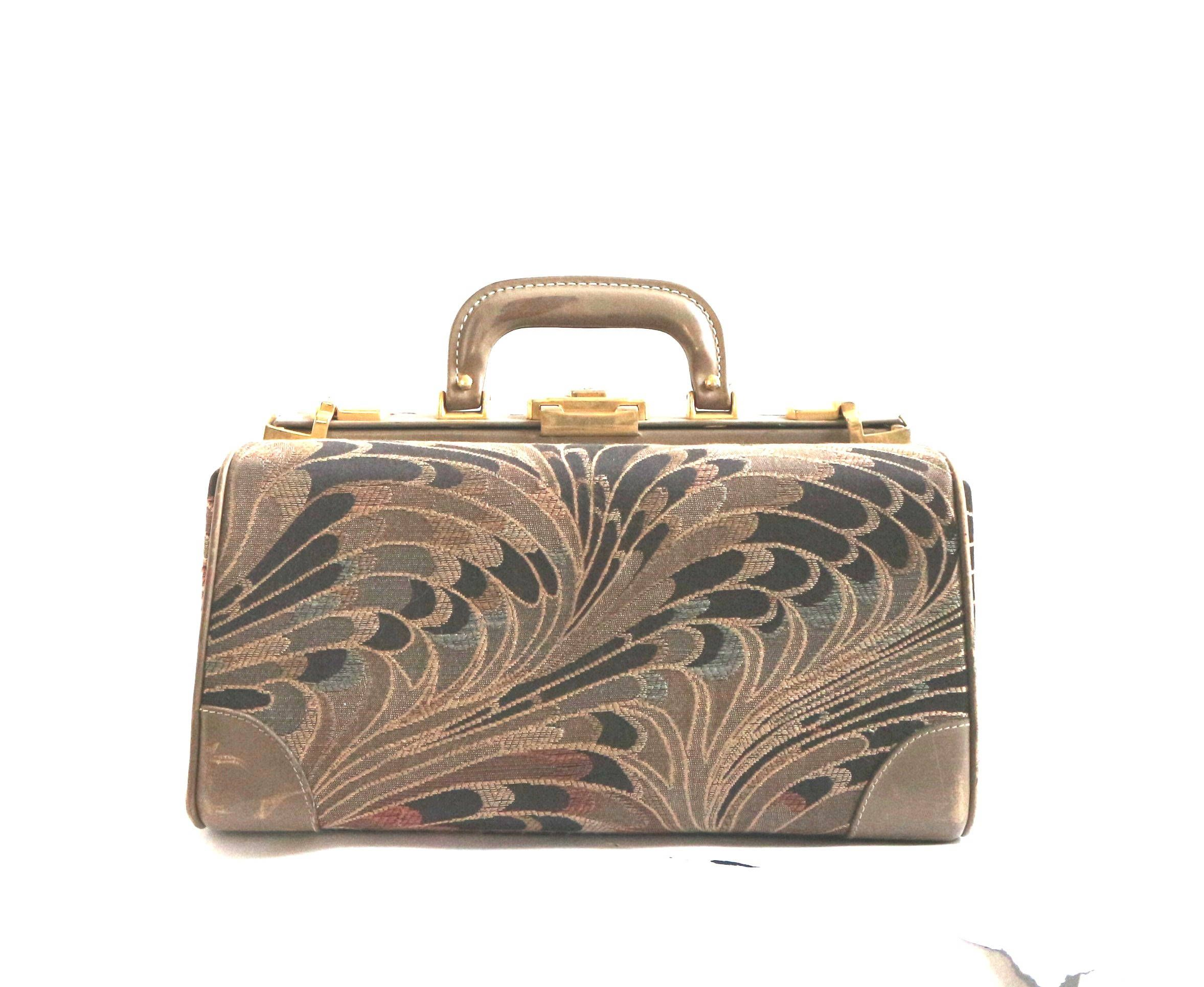 Vintage Train Case 1960s Luggage Tapestry Bag 60s