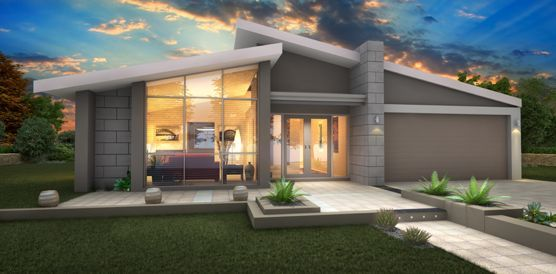 Single story house design display homes perth builders for One story modern house