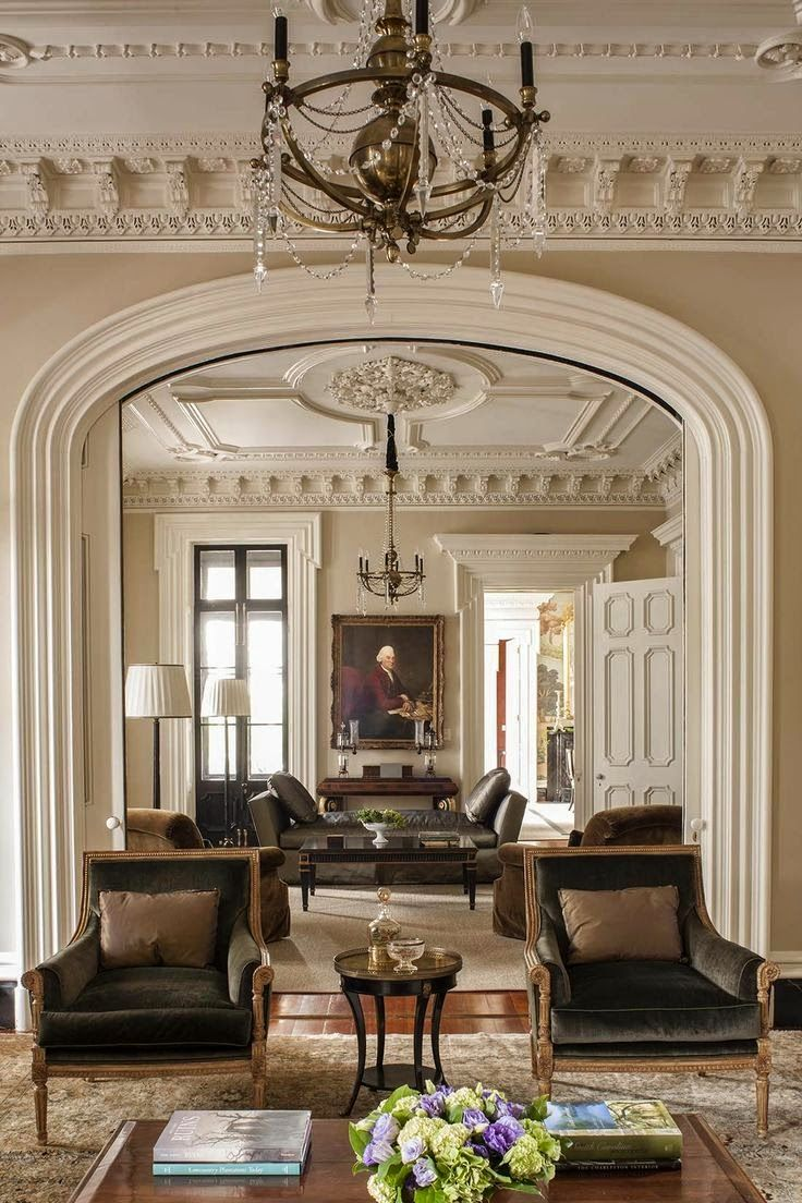 Neutral greenroom classical styling eyebrow arch doorway ornate dentil moulding unique lighting designnashville com lighting and draperies