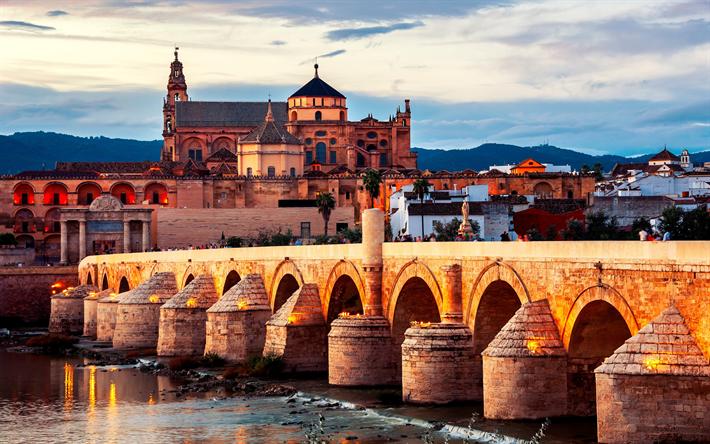 Download wallpapers Roman Bridge, 4k, Guadalquivir River, italian landmarks, Andalusia, Cordoba, Italy, Europe