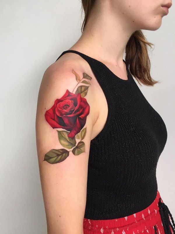 Amezing red rose tattoo - 100+ Meaningful Rose Tattoo Designs  <3 <3