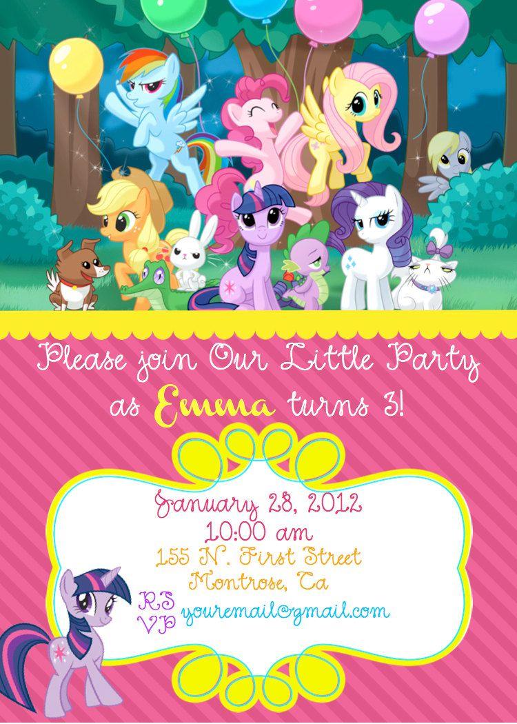 My Little Pony Birthday Invite 10 00 Via Etsy My Little Pony Birthday Party My Little Pony Invitations Pony Birthday Party