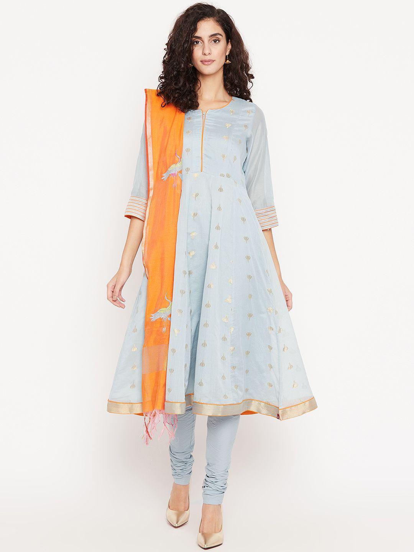 76ccf25e29 Biba Women Grey & Orange Woven Design Kurta With Churidar & Dupatta  - Kurta