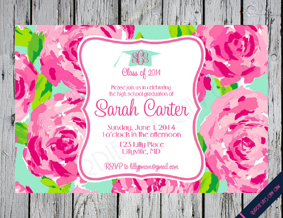Lilly pulitzer graduation invitation first impression inspired lilly pulitzer graduation invitation first impression inspired monogram bridal shower baby shower birthday sweet sixteen filmwisefo Images