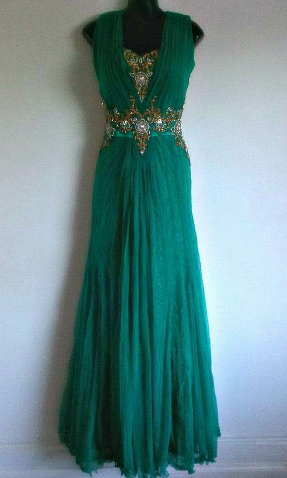 Karma Gold Beaded Green Indian Gypsy Dress, Long Prom Dress, Evening ...