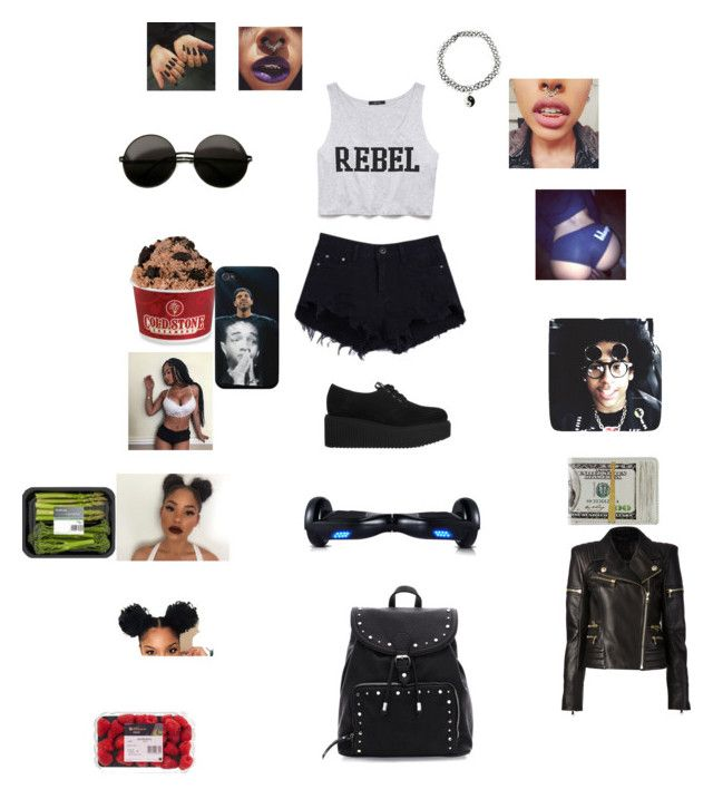 """Misfit like my baby daddy "" by official-jamaya ❤ liked on Polyvore featuring Forever 21, Illy, R2, Karl Lagerfeld and Balmain"