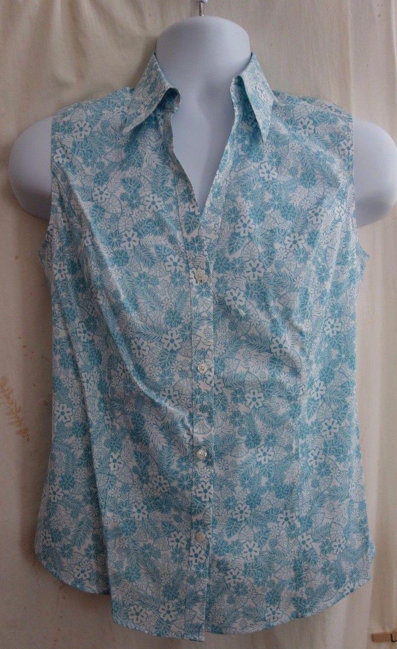 b1d24606651ba Nwot Brooks Brothers Turquoise White Cotton Silk Blouse Sizes 6 8 10 Retail   89