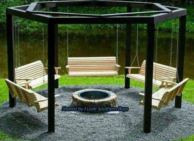 Many swings | Fire pit swings, Fire pit seating