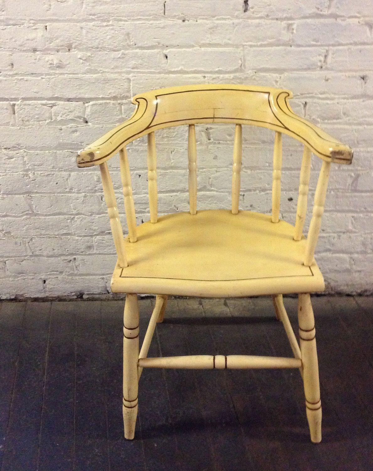 Pale yellow vintage wooden arm chair vintage pinterest arms