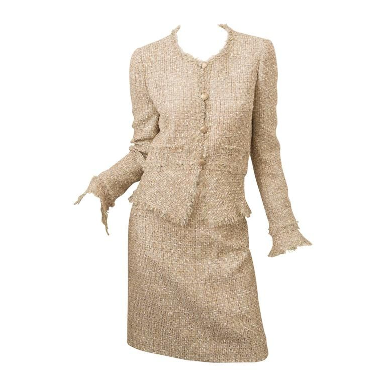 1fa70c0a6e4 Chanel Two Piece Metallic Tweed Skirt Suit