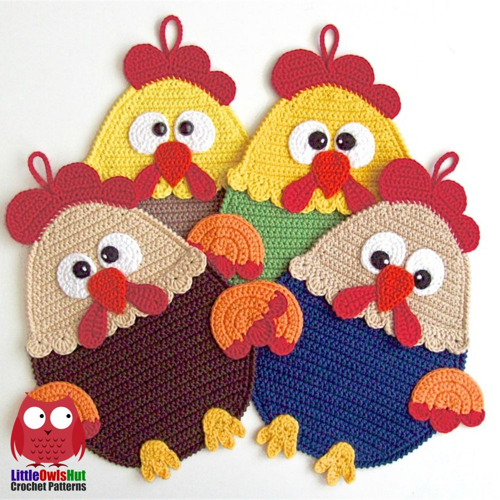 128 Rooster Decor or potholder - Amigurumi Crochet Pattern - PDF ...