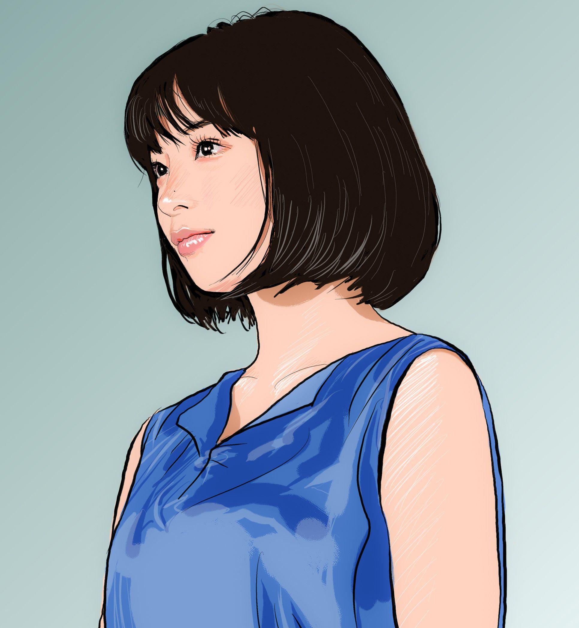 広瀬すずさん At Suzumg 似顔絵 イラスト イラストレーション 女優