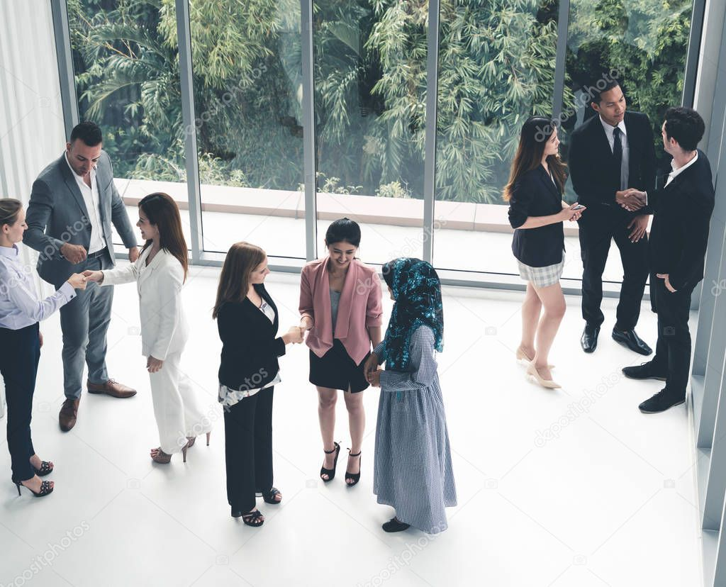 Many Business People Gathering In Office Building Stock Photo Affiliate Gathering People Business Office Business People Office Building People